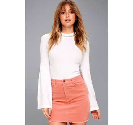 Only You Blush Pink Corduroy Mini Skirt