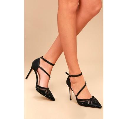 47d2b32d6b9 Warren Black Rhinestone Ankle Strap Heels