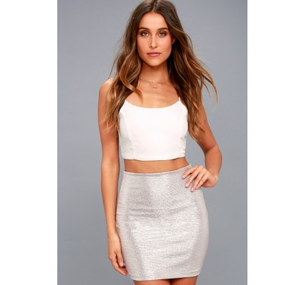 Leading Light Mauve and Silver Mini Skirt