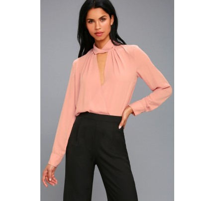Elsie Blush Pink Long Sleeve Top