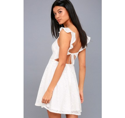 Absolutely Adorable White Lace Backless Skater Dress - Lulus 4b0b76530