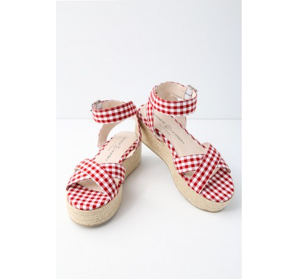 ecc273b7d3a2bc Zala Red and White Gingham Espadrille Flatform Sandals - Lulus
