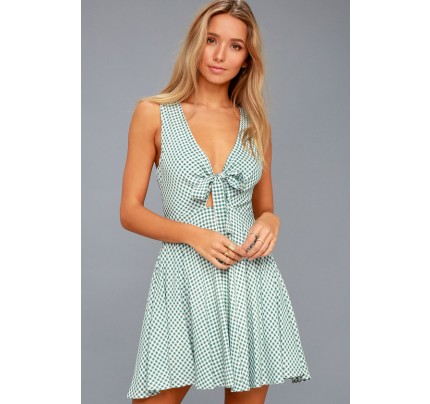 Feeling Good White and Sage Green Gingham Tie Front Skater Dress - Lulus