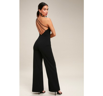 Going Solo Black One Shoulder Backless Jumpsuit - Lulus