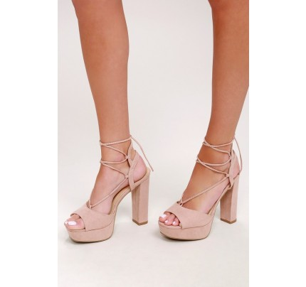 Saucy Nude Suede Platform Lace-Up Heels - Lulus