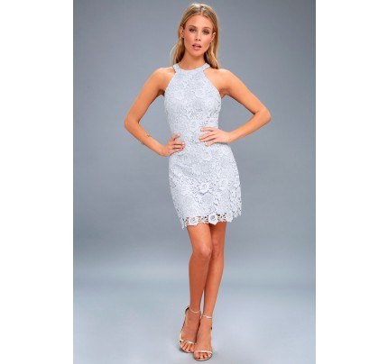 Love Poem Light Blue Lace Dress - Lulus