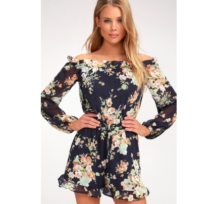 5ce00872d2fd Navy Blue Floral Print Off-the-Shoulder Romper - Lulus
