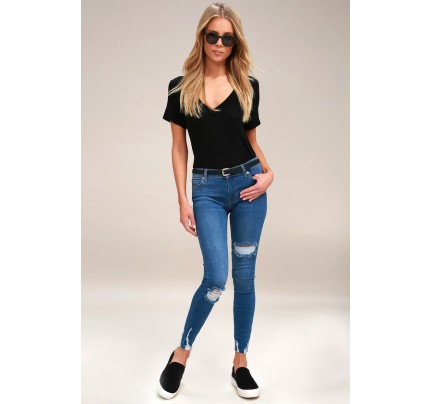 Shark Bite Blue Distressed Skinny Jeans - Lulus