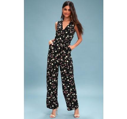 0d1469aaf743 Robertson Black Floral Print Wide-Leg Jumpsuit - Lulus