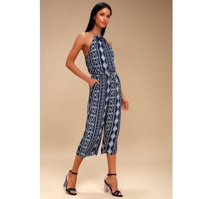 34f6dcd91b7a Sparrow Navy Blue Print Halter Jumpsuit - Lulus