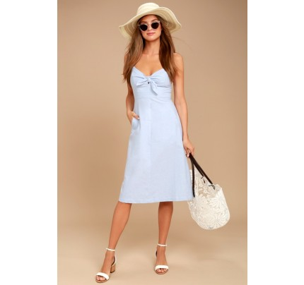 Ain't No Other Light Blue Chambray Midi Dress - Lulus