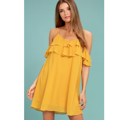 Impress the Best Yellow Off-the-Shoulder Dress - Lulus
