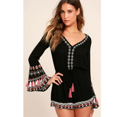 Hiatus Black Embroidered Long Sleeve Romper - Lulus
