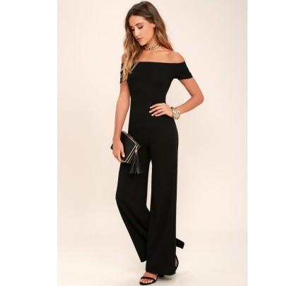 24a32bd56902 Alleyoop Black Off-the-Shoulder Jumpsuit - Lulus