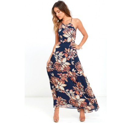 Adventure Seeker Navy Blue Floral Print Maxi Dress - Lulus