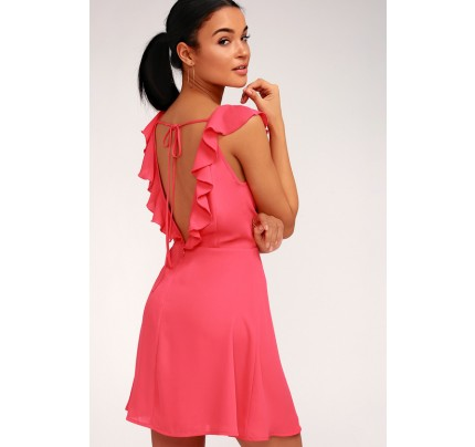 Triana Coral Pink Ruffled Backless Dress - Lulus