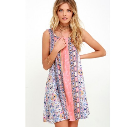 Whisk Me Away Coral Pink Print Swing Dress - Lulus