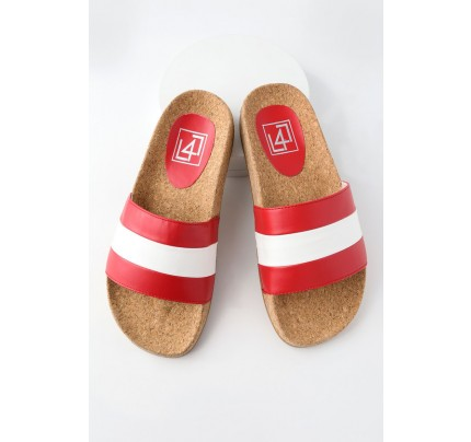 b393d3d5e89eee Affect Red Multi Striped Slide Sandals - Lulus