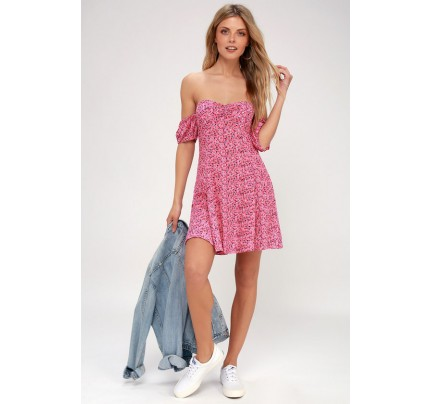 Maybel Hot Pink Floral Print Off-the-Shoulder Babydoll Dress - Lulus