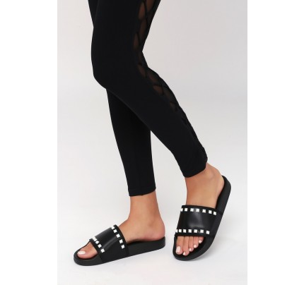 436471a1b8a208 Rebel Black Studded Slide Sandals - Lulus