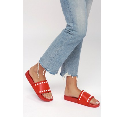 164e73a66d4ed8 Rebel Red Studded Slide Sandals - Lulus