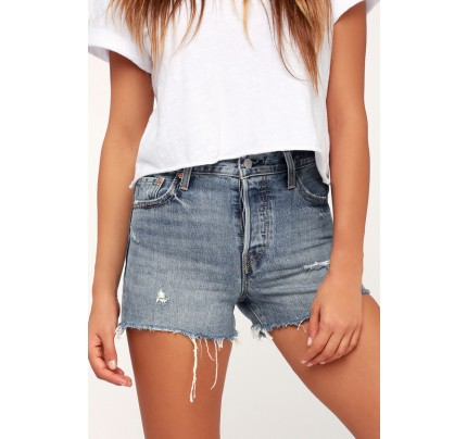 Wedgie Fit Medium Wash Distressed Denim Shorts - Lulus