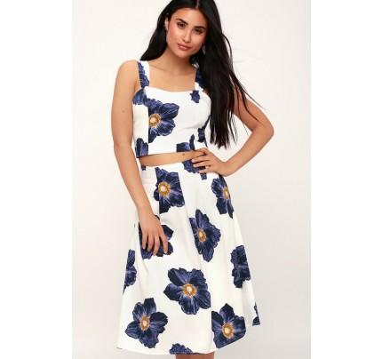Marna White Floral Print Midi Skirt - Lulus