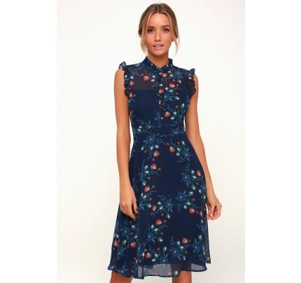 Porch Swing Navy Blue Floral Print Midi Dress - Lulus