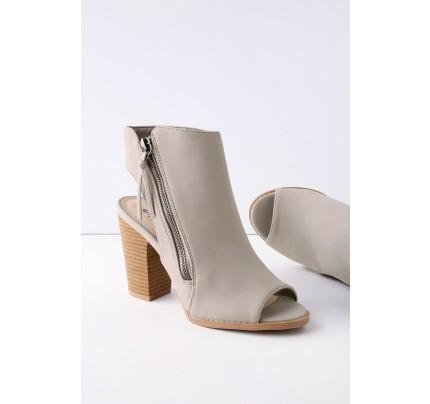 Bartlett Taupe Nubuck Peep-Toe Ankle Booties - Lulus