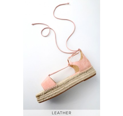 2fdc256999571a Fernanda Blush Genuine Suede Leather Lace-Up Espadrille Flatform Sandals -  Lulus