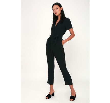 Walk With You Black Short Sleeve Jumpsuit - Lulus