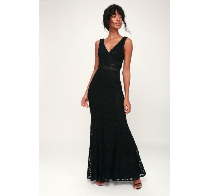 My Forever Black Lace Maxi Dress - Lulus