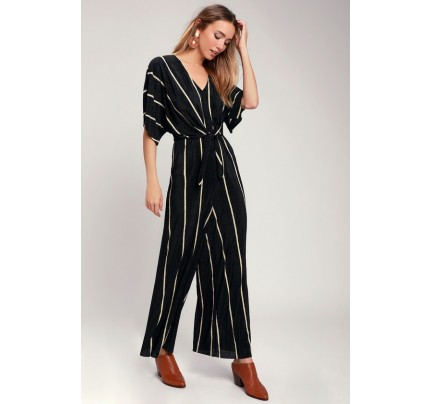 8535871ad591 Abbagail Black Striped Knotted Front Jumpsuit - Lulus