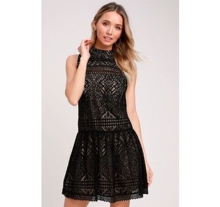 Belrose Black and Nude Lace Mini Dress - Lulus
